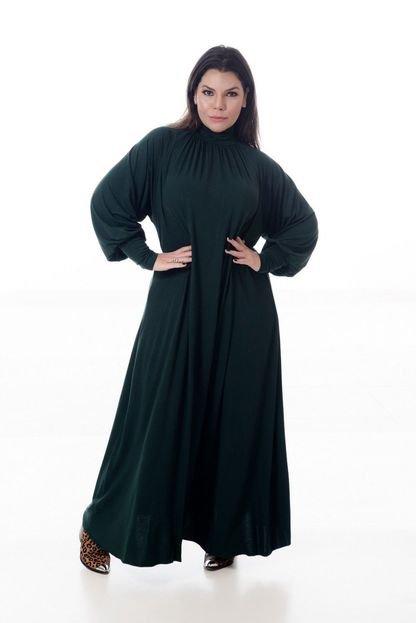 MARI MALPIGHI Vestido Mari Malpighi longo gola alta verde militar UyWQV