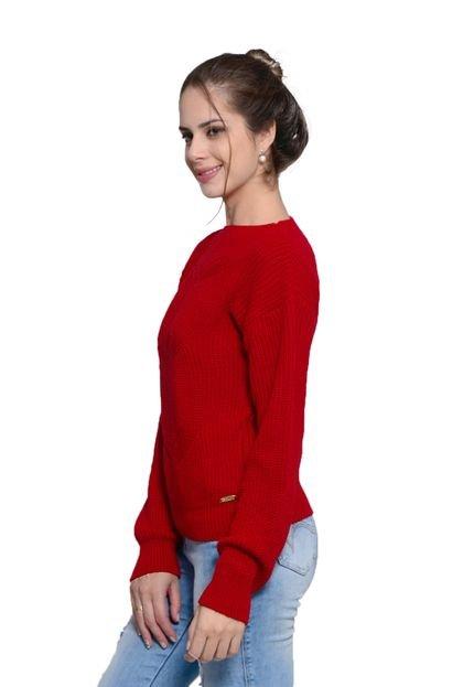 Charme Tricot Blusa Charme Tricot Detalhe Frontal Vermelho 31SL3