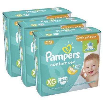Kit Fraldas Pampers Confort Sec Xg Com 102 Unidades