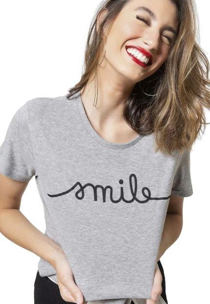 Joss Camiseta Basica Joss Smile Cinza Mescla mLJsk