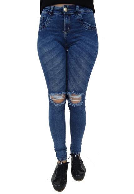 Aero Jeans Calça Jeans Aero Jeans Skinny Destroyed Azul wiKGC