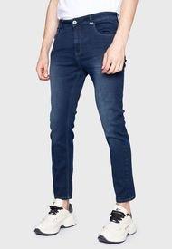 Jeans Ellus Blue Storm Skinny Cropped Tiro Medio Cinco Bolsillos Azul - Calce Skinny