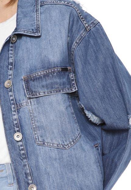Colcci Jaqueta Jeans Colcci Destroyed Azul