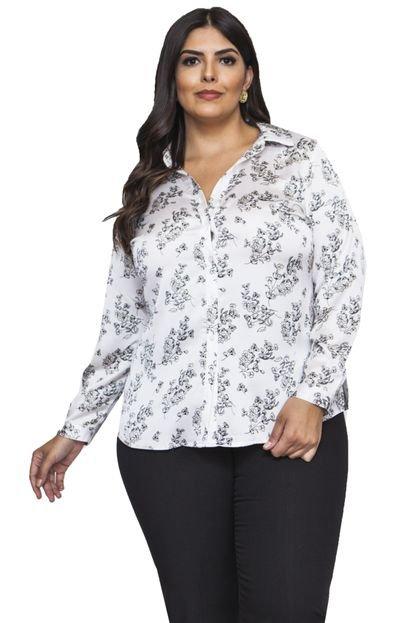 Almaria Plus Size Camisa Almaria Plus Size Pianeta Floral Off-White PzcLk