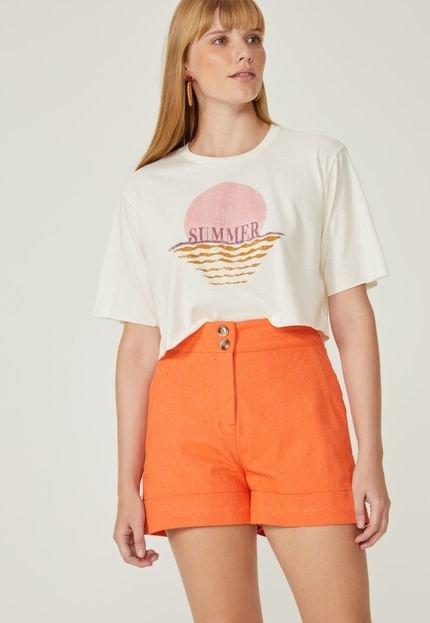 AMARO T-Shirt AMARO Cropped Summer Off-White