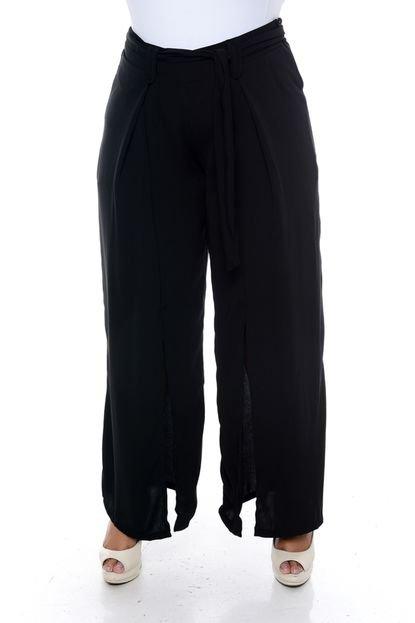 Cosma Calça Cosma Plus Size Pantalona com Fenda Preto 01cio