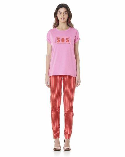 Serinah Brand Camiseta Estampada Serinah Brand SOS Rosa RmNJG