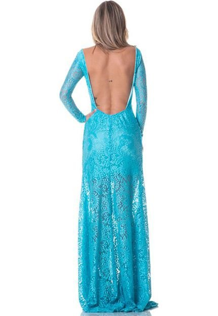 Gisele Freitas Vestido Longo Gisele Freitas De Renda Decotado Azul Turquesa