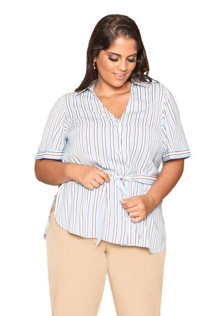 Almaria Plus Size Camisa Almaria Plus Size Pianeta Listrada Azul 9UPh7
