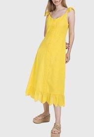 Vestido iO Largo liso macrame Amarillo - Calce Holgado