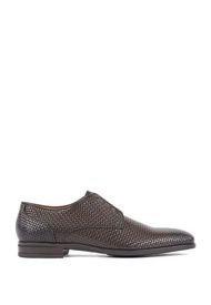 Zapatos Italianos En Piel De Becerro Grabada Con Efecto Tejido Boss