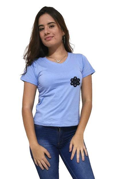 Cellos Camiseta Feminina Gola V Cellos Vertical Signature Premium Azul Claro H4HYH