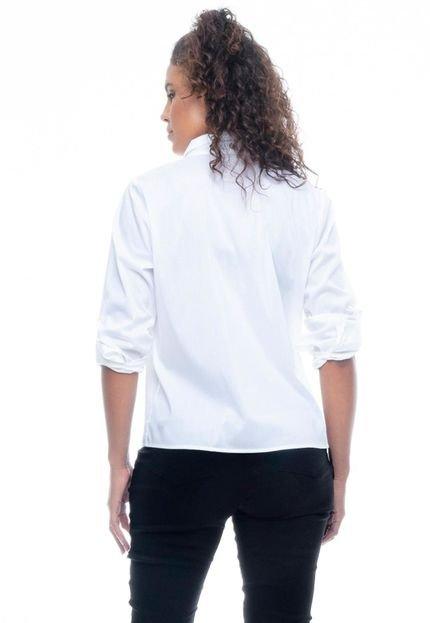 Camisa 101 Resort Wear Tricoline Elastano Lisa com Reguladores Branca - Marca 101 Resort Wear