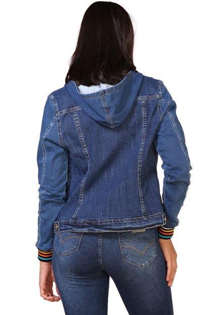 Retrato Falado Jaqueta Jeans Retrato Falado com Capuz e Punho Colorido Azul