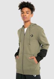 Polerón Converse Colorblock Sleeves Full Zipper Hoodie Verde - Calce Regular