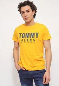 Polera Tommy Jeans TJM CENTER CHEST TOMMY GRAPHIC Naranjo - Calce Regular
