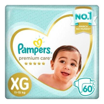 Fralda Pampers Premium Care Nova Jumbo Tamanho Xg 60 Unidades Branca
