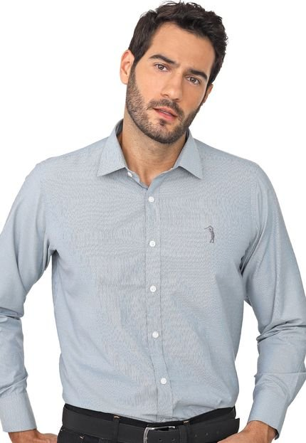 Camisa Aleatory Slim Padronagens Azul