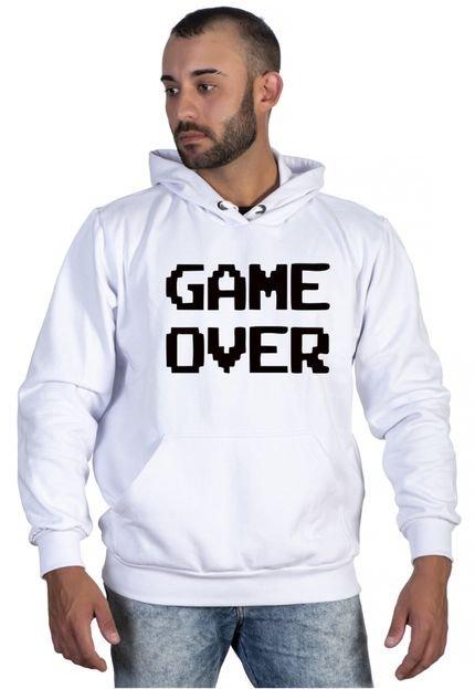 Blusas de Frio Moletom Canguru Com Capuz Game Over Selten Branco