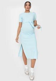Vestido Missguided Maternity SS Bltd Spltside Mide Drss Celeste - Calce Regular