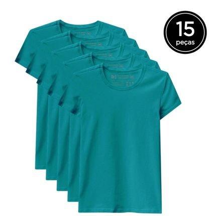 Basicamente. Kit de 15 Camisetas Basicamente. Babylook Básicas Verde 9Gzhk