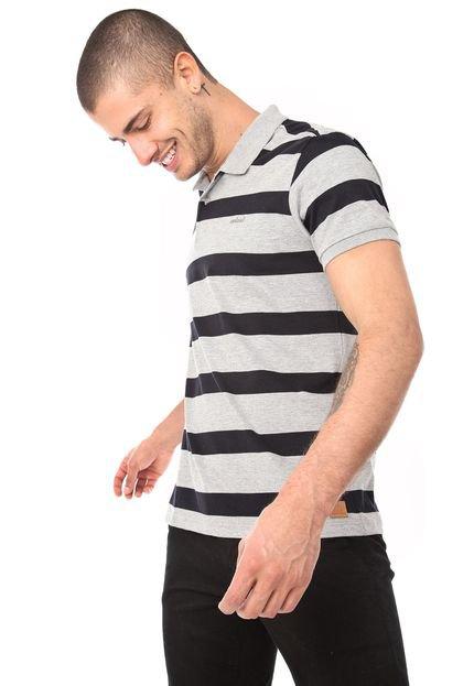 Camisa Polo Colcci Reta Listra Cinza/Preta