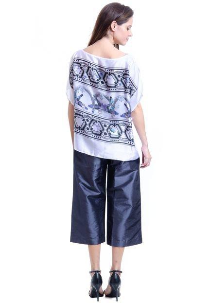 101 Resort Wear Blusa 101 Resort Wear Poncho Crepe Estampada Pássaro Joias NPujN