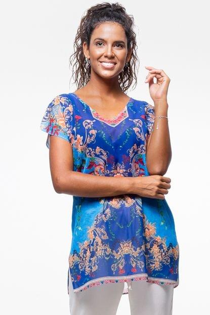 101 Resort Wear Blusa 101 Resort Wear Tunica Decote V Crepe Fendas Azul bKtrt