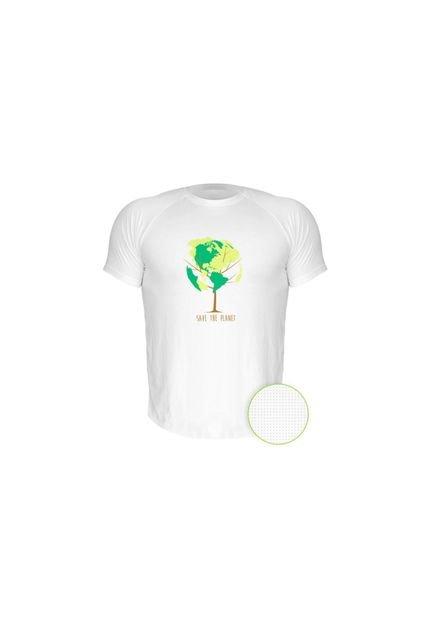 Camiseta Manga Curta Nerderia Save The Planet Branco