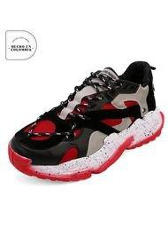 Tenis Sneakers Hombre Negro*Rojo Tellenzi 2233