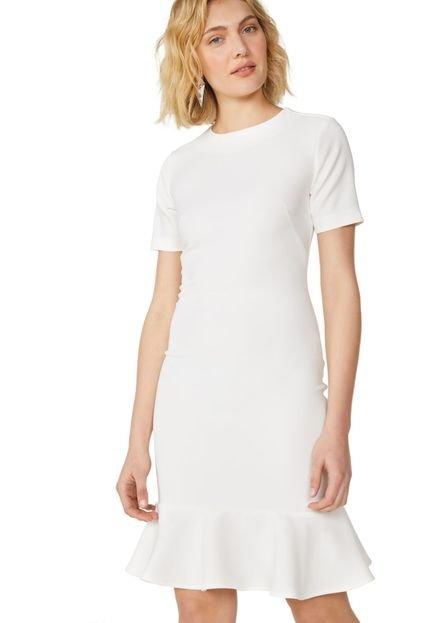 AMARO Vestido AMARO Peplum Essential Off-White 7JOS2