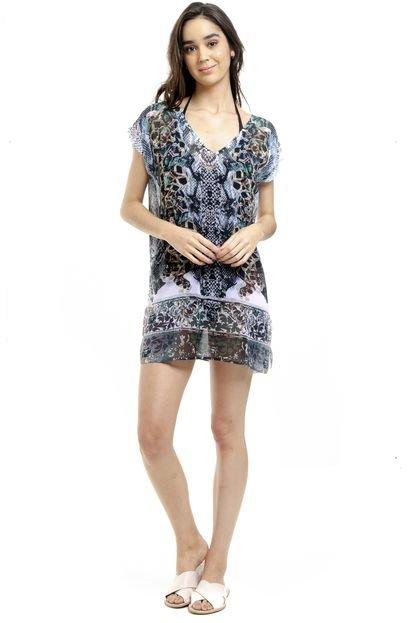 101 Resort Wear Blusa Estampada 101 Resort Wear Tunica Saida de Praia Decote V Crepe Fendas Cobra Verde