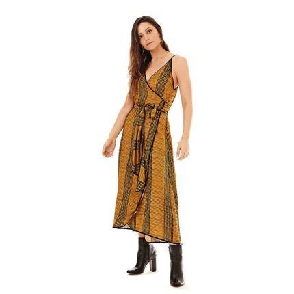 Morena Rosa Vestido Morena Rosa  Midi Decote Transpassado Com Amarracao  Amarelo UvPgX
