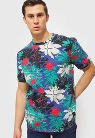 Polera Ellus Round Neck Silicon Wash Full Print Tshirt Multicolor - Calce Regular