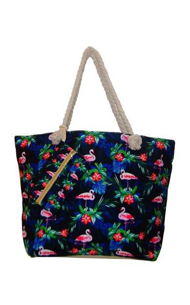 Bolsa de Praia Real Arte Flamingo Preta - Marca Real Arte