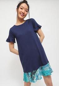 Vestido Desgiual DRESS SHORT SLEEVE JAVA SUNSET Azul - Calce Regular