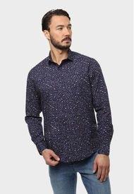 Camisa Print Flores Spandex Azul Marino Arrow