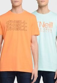 Pack 2 Poleras O'Neill Naranjo/ Celeste - Calce Regular