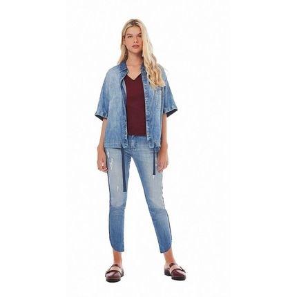 Zinco Calca Zinco  High Waist Cropped Cos Alto Detalhe Vivo  Jeans Se6cA