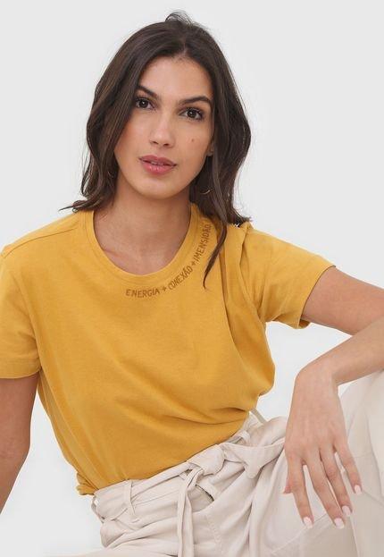 Dress to Camiseta Dress to Bordada Amarela EeiPZ