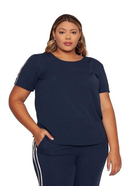 Almaria Plus Size Blusa Almaria Plus Size Enois Crepe Azul Marinho KweZe