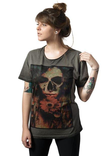 Camiseta Caveira Skull Lab Love Skull Cinza - Marca Skull Lab