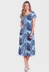 Vestido Wados Plisado Estampado Azul - Calce Regular