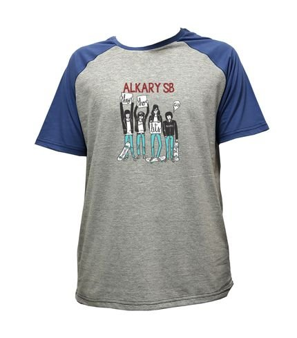 Camiseta Alkary Raglan Manga Curta Ramones Mescla e Azul