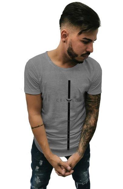 Camiseta Longline Cellos Stripe Premium Mescla