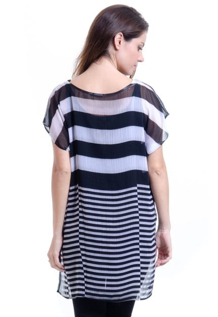101 Resort Wear Blusa 101 Resort Wear Tunica Decote V Crepe Fendas Estampa Listrado Preta e Branca zsOnd