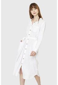 Vestido Camisero Largo Blanco Nicopoly
