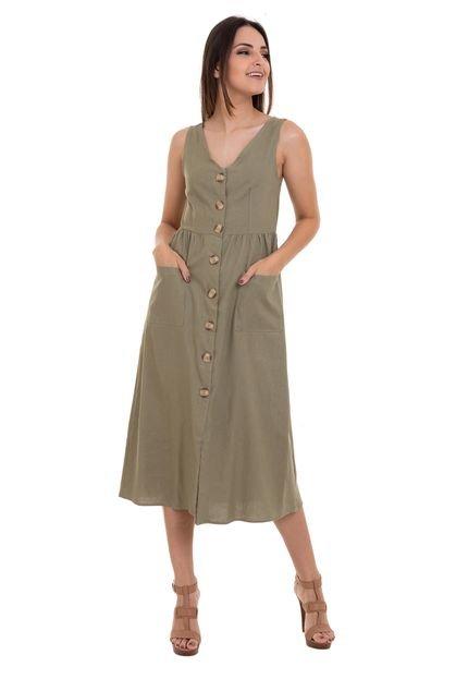 Kinara Vestido Kinara Midi Liso Amarração nas Costas Verde ObDGS