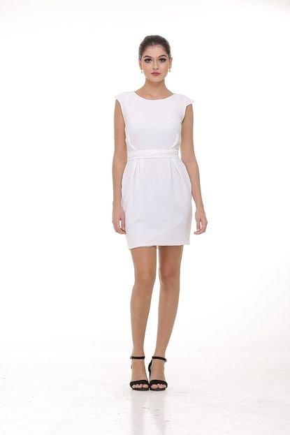 Clara Arruda Vestido Clara Arruda Curto Cintura Marcada 50345 Off-white stHfu