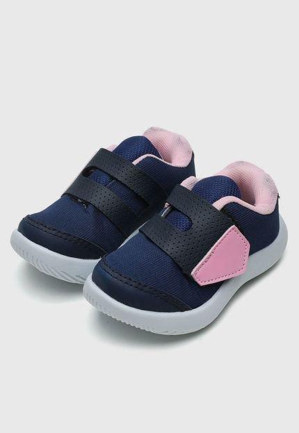 Tênis Tricae Infantil Liso Azul-Marinho/Rosa